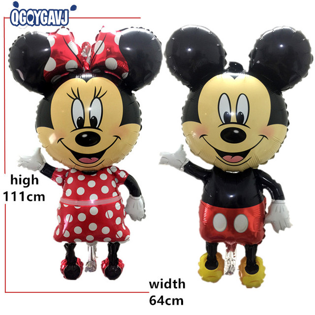QGQYGAVJ children's toys birthday party balloon decoration foil balloons wholesale oversized Red Bowknot Mickey Minnie balloons