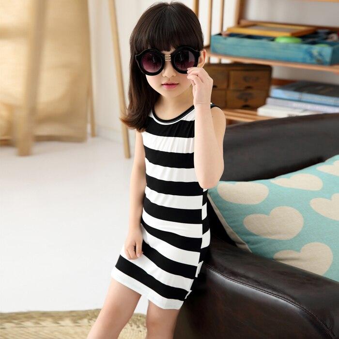9af24bd48 Jilly Niños Niñas Ropa negro y blanco rayas verano chica vestido 100%  algodón 3-14 niños chaleco ...