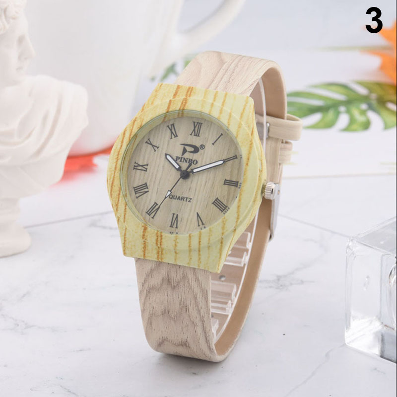 Droppshiping Men Women Quartz Watch PU Leather Wood Pattern Wristwatch Student Sport Casual Watches BFJ55