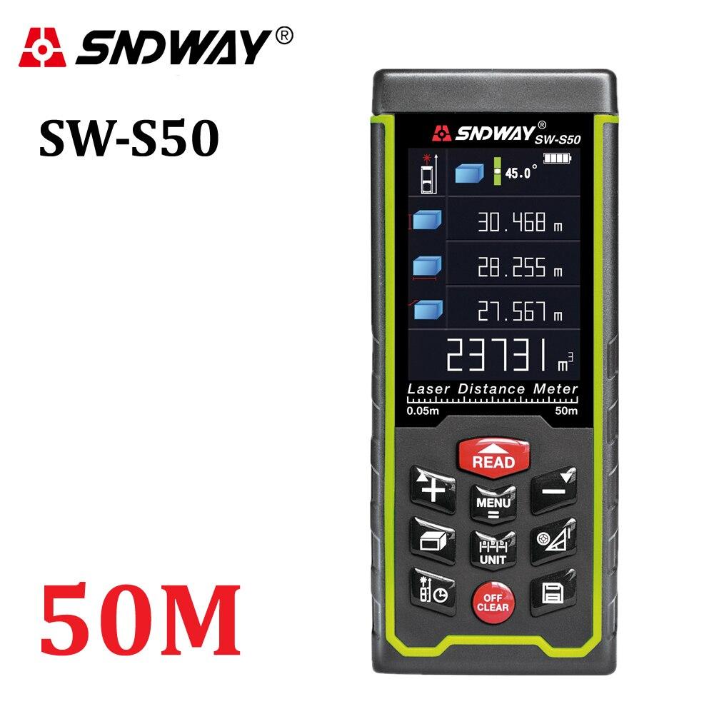 SNDWAY visor a Cores 50 m 164ft recarregável Digital de Telêmetro A Laser laser medidor de distância medida ferramentas frete grátis