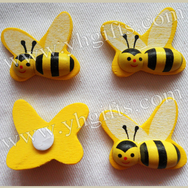 50PCS LOT1 Inch Wood Honeybee Stickers3D Bumble Bee StickerEaster
