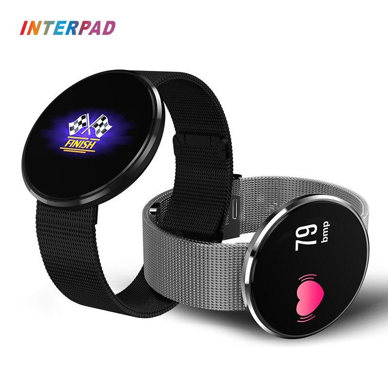 Interpad Bluetooth Heart Rate Monitor de Esporte Relógio Inteligente IP68 À Prova D' Água Smartwatch Sono Suporte para Monitor Remoto Câmera