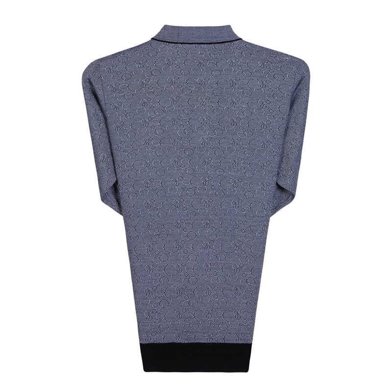 男スプリング秋ニットブラウスグレー屯ダウン襟長袖カシミヤブレンドトップス中年の男性カジュアルシャツの父親の服