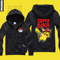 Kawaii Japan Anime Pokemon Animal Pikachu Zip Hoody Jacket Zip up Hoodie Super Pika Sweatshirt