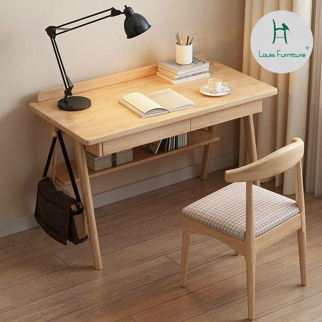 Bon Louis Fashion Computer Desks Nordic Solid Wood Minimalist Japanese Log  Color Student Simple Desktop Home