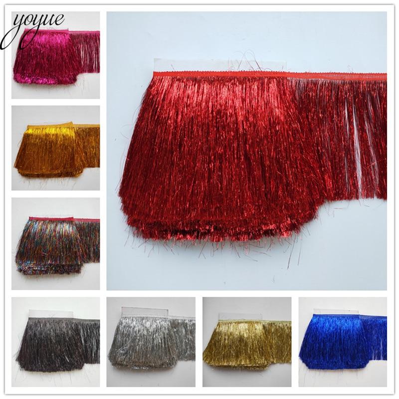 YOYUE 5 Yards/lot 20CM Long Lace Fringe Trim Plastic Tassel Fringe Trimming Diy Latin Dress Clothes Accessories Lace Ribbon