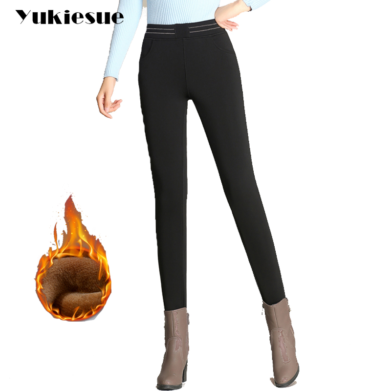Plus size 5XL 6XL high waist pencil   pants     capri   women 2018 winter warm fleece OL office trousers female pantalon femme mujer