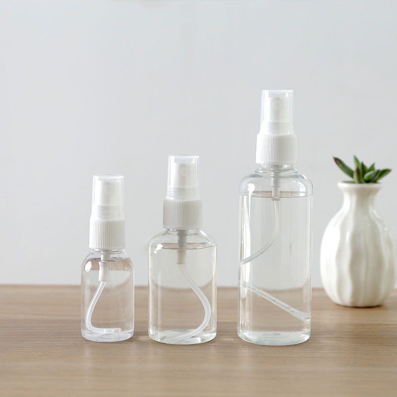 30/50/100ml Plastic Transparent Empty Spray Pump Bottle For Make Up And Skin Care Refillable Random Color Travel Storage Use