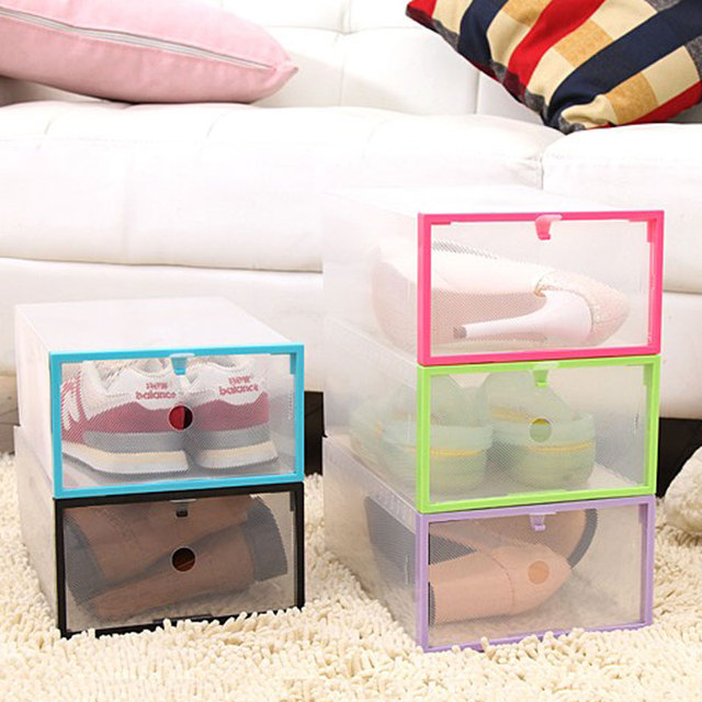 Butihome 1 Pc DIY Shoes Container Storage Dustproof Travel Transparent Shoe  Box Save Space Travel Portable