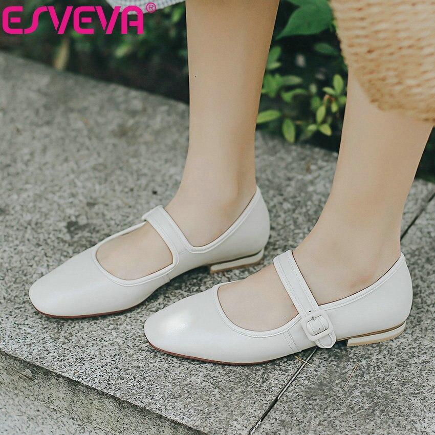 ESVEVA 2019 femmes Style occidental chaussures plates printemps automne bout carré boucle peu profonde Miss chaussures peu profondes chaussures confortables 34-39
