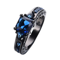 Women Size 6 7 8 9 10 Fashion Jewelry Rings Blue Sapphire 14KT Black Gold Filled