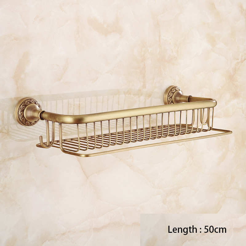 Bathroom Multi function Shower Basket with Towel Bar and Hooks, Antique Brass Collection London Style, Good for Kitchen Home
