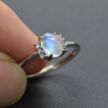 12fd3a4f28a3 Brillo azul de la labradorita Natural 5x7mm superficie ajustable anillos de  boda blanco de cristal de diamantes de imitación de .