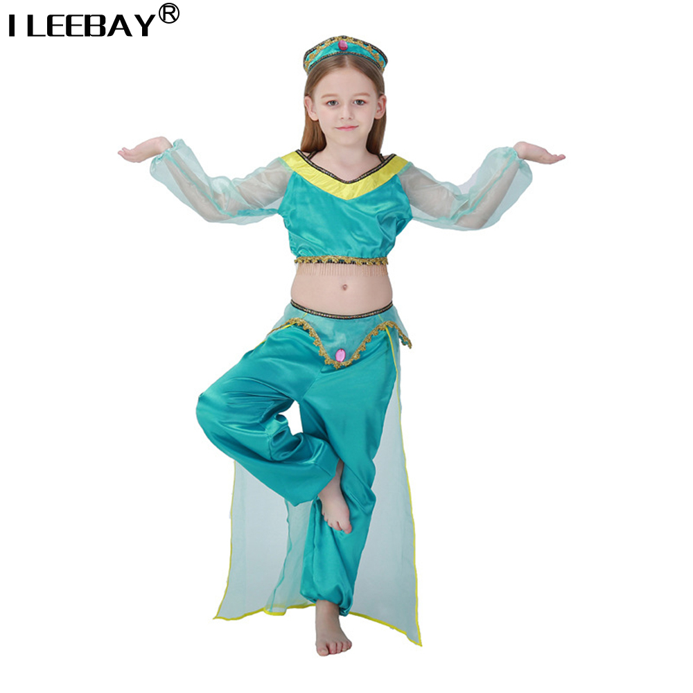 Girls Cosplay For Children Halloween Party Belly Dance Dress kids Aladdin Lamp Jasmine Princess Costumes Indian Princess Costume devil may cry 4 dante cosplay wig halloween party cosplay wigs free shipping