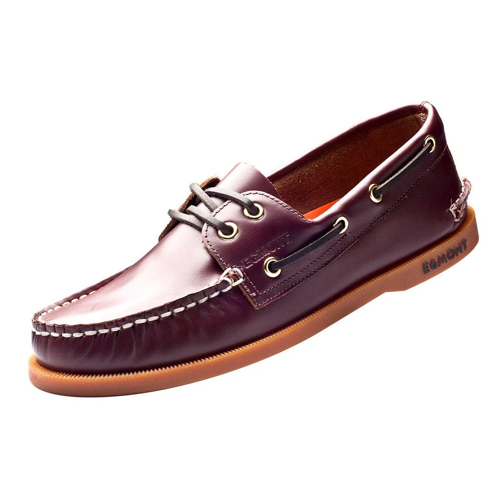 Egmonth EG 09 vino rojo Primavera Verano barco zapatos hombres zapatos casuales mocasines cuero genuino cera de aceite hecho a mano cómodo