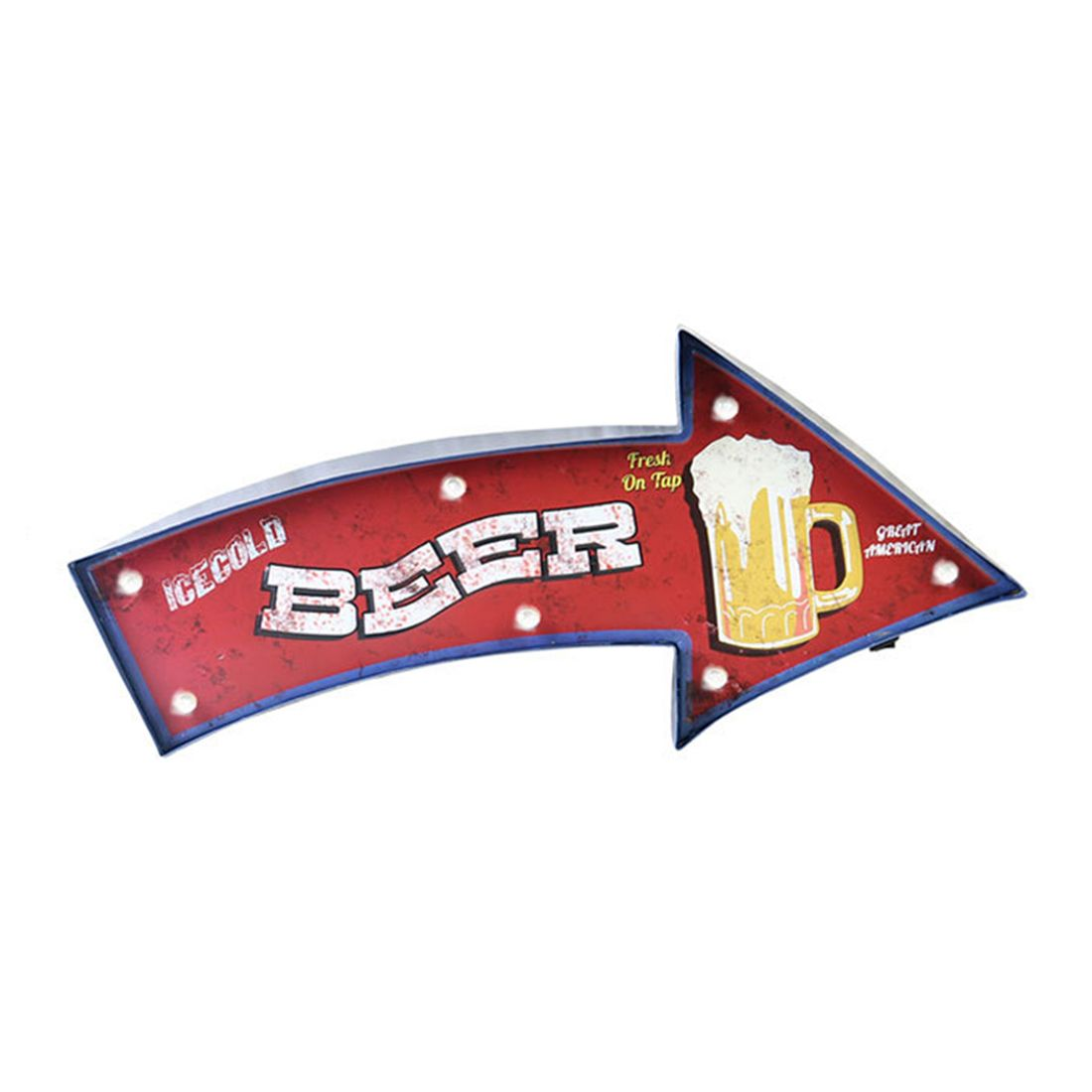 Loft American Retro Iron Wall Decoration LED Lights ICECOLD BEER  Motto Wall Decoration Coffee Shop Bar Home Personalized Deco motto wall sticker