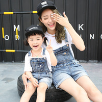 2018 summer matching mother daughter clothes mom and daughter denim short pants denims kids strap short pants family clothing