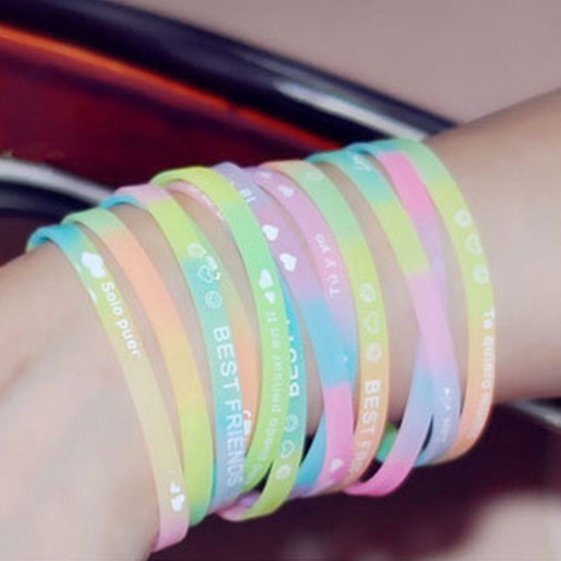 1 шт. Cute love Серебристые силикагель браслет движение браслет ювелирные изделия бесплатная доставка