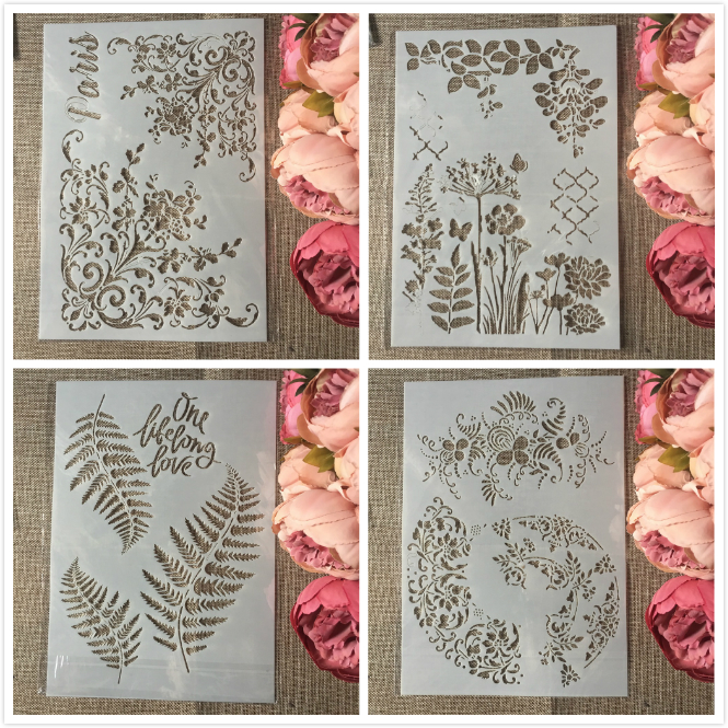4Pcs/Set A4 Paris Flower Leaves DIY Layering Stencils Painting Scrapbook Coloring Embossing Album Decorative Template
