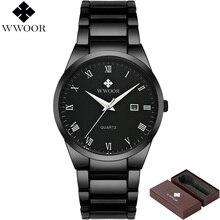 Marca de lujo WWOOR Impermeable del Cuarzo de Los Hombres Relojes de los Deportes de Los Hombres de Negocios de Acero Inoxidable Reloj masculino relogio del Reloj Masculino Negro