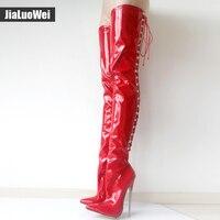 Jialuowei Kadın Çizmeler Seksi 18 cm Yüksek Topuklu Metal Ince Topuklu Kadın sivri burun Çapraz bağlı Diz Üzerinde Uyluk Yüksek Dans Parti Çizme