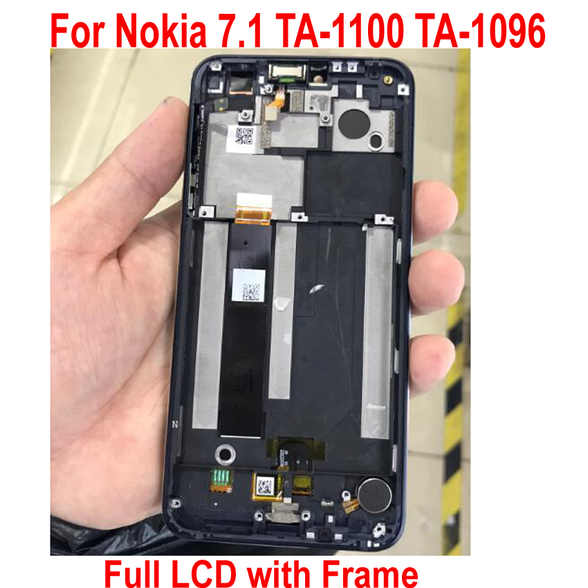 100% Tested Best LCD Display Touch Panel Screen Digitizer Assembly with Frame For Nokia 7.1 TA 1100 TA 1096 Glass Sensor