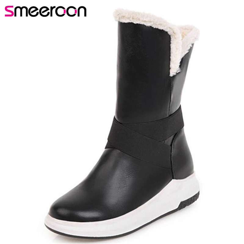 Smeeroon 2019 hot sale waterproof antiskid winter ankle boots for women round toe flat shoes thick fur wamr women's snow boots image
