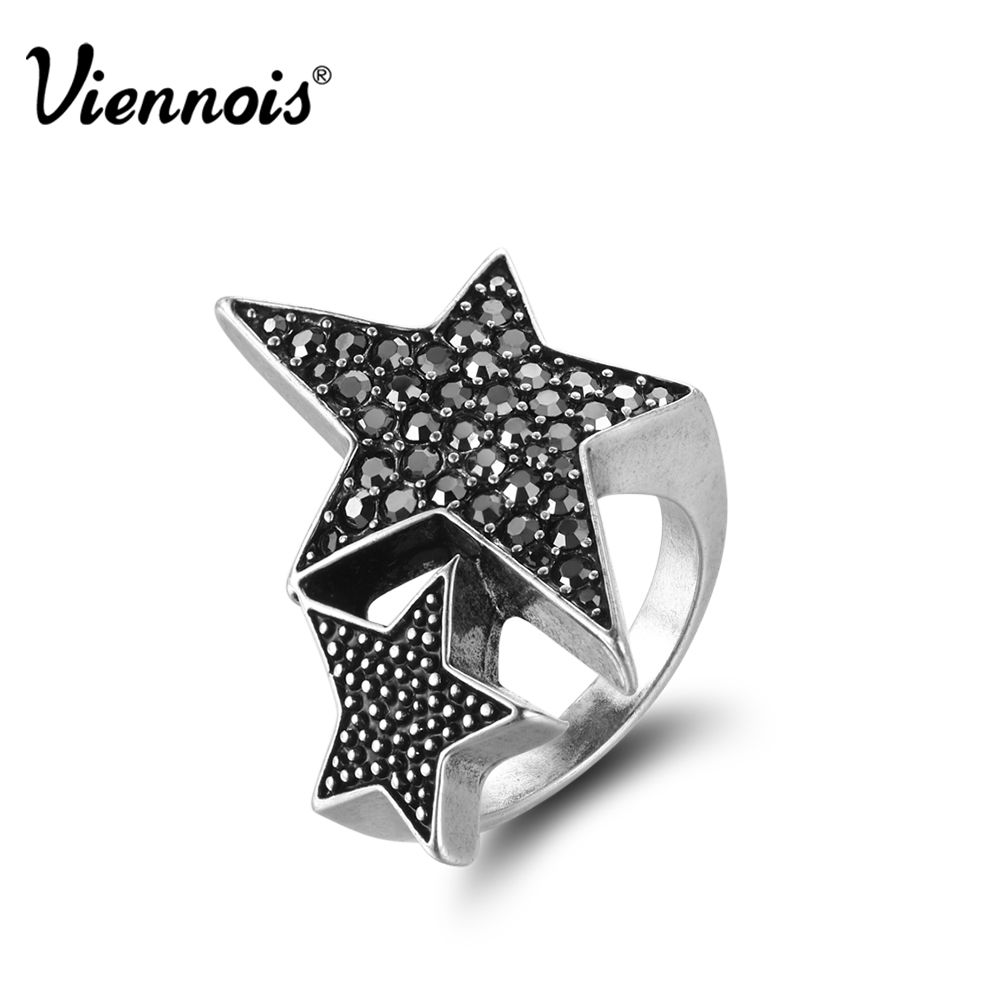 Viennois Silver Color Rings for Woman Star Rings Coffee Gold Color Ring Jewelry Wedding Party Female Finger Rings