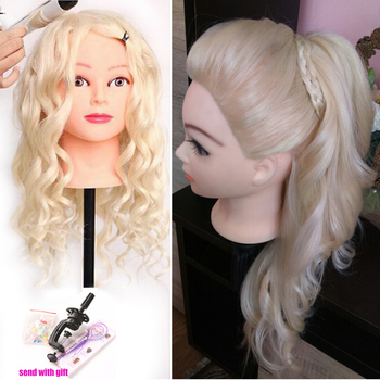 60 % Real Human Hair 60 cm Training Head blonde For Salon Hairdressing Mannequin Dolls professional styling head can be curled 100% real human hair head dolls for hairdressers 16 brown training head professional mannequin with small clamp can be curled