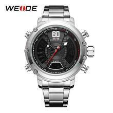 WEIDE Fashion Sport Stainless Steel Band Men Analog LED Display Quartz Calendar Alarm Wrist Watch Top Brand Luxury Casual Clock weide luxury brand analog digital alarm stopwatch black red dual men sport watch quartz wrist watch military men clock relogio