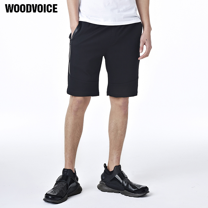 Woodvoice Brand 2017 Sunmmer Hot Mens Cotton Shorts Knee Length Shorts for Male Loose Elastic Solid Color Shorts Black Gray 8835