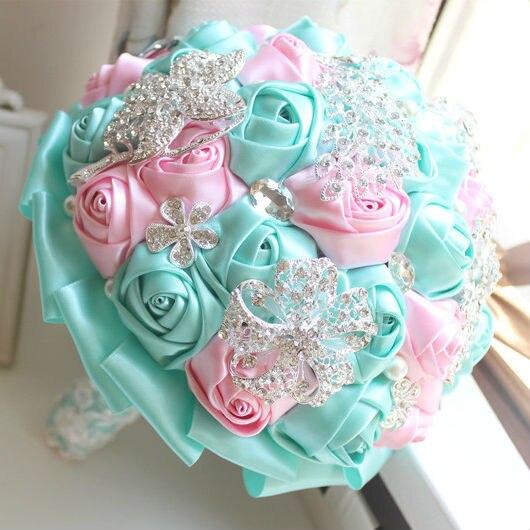 Warna Warni Wedding Bouquet Pink Dan Hijau Buatan Karangan Bunga Rhinestones Romantis Mawar