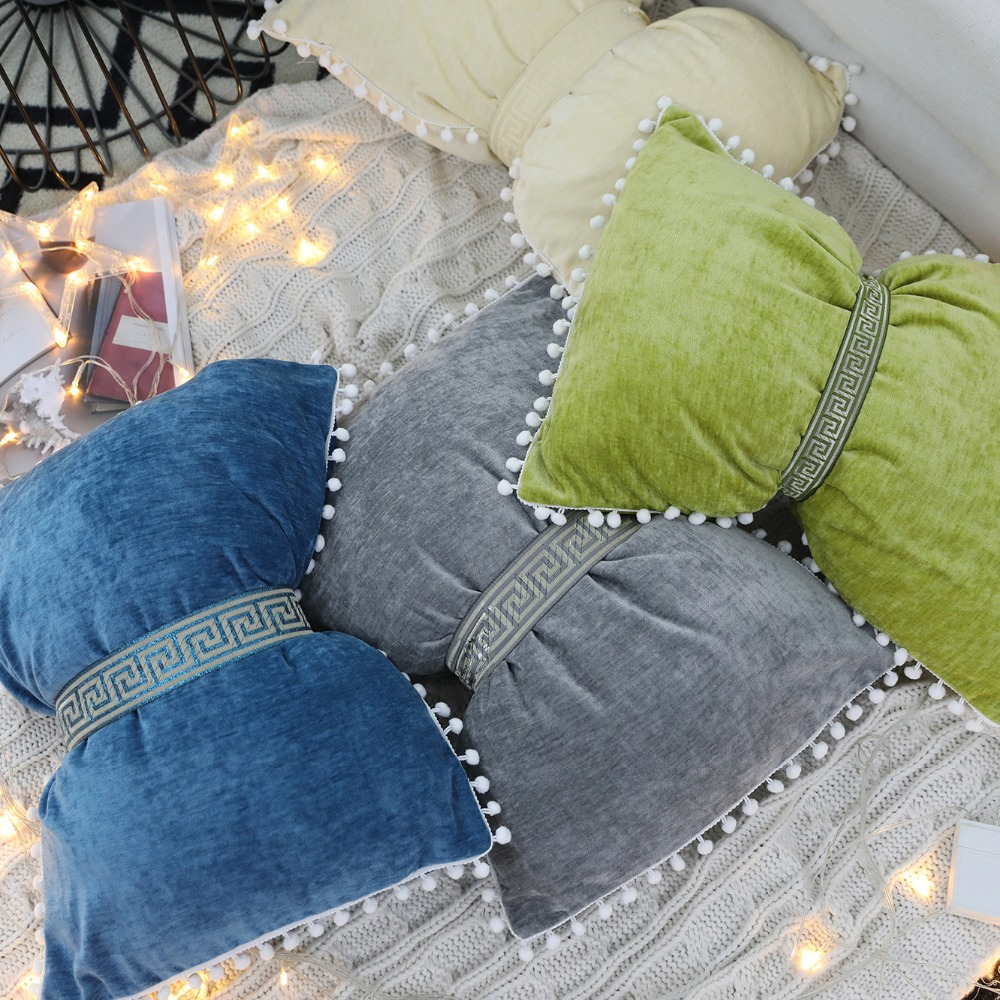 High End Fine Velvet pure color Cushion with white ball&bow tie back for sofa and car includding cushion core