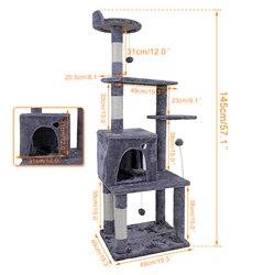 Binnenlandse Levering 145 cm Kat Krabben Berichten Cozy Cat Thuis Houten Klimmen Springen Speelgoed Krabpaal Voor Kitten en grote Kat
