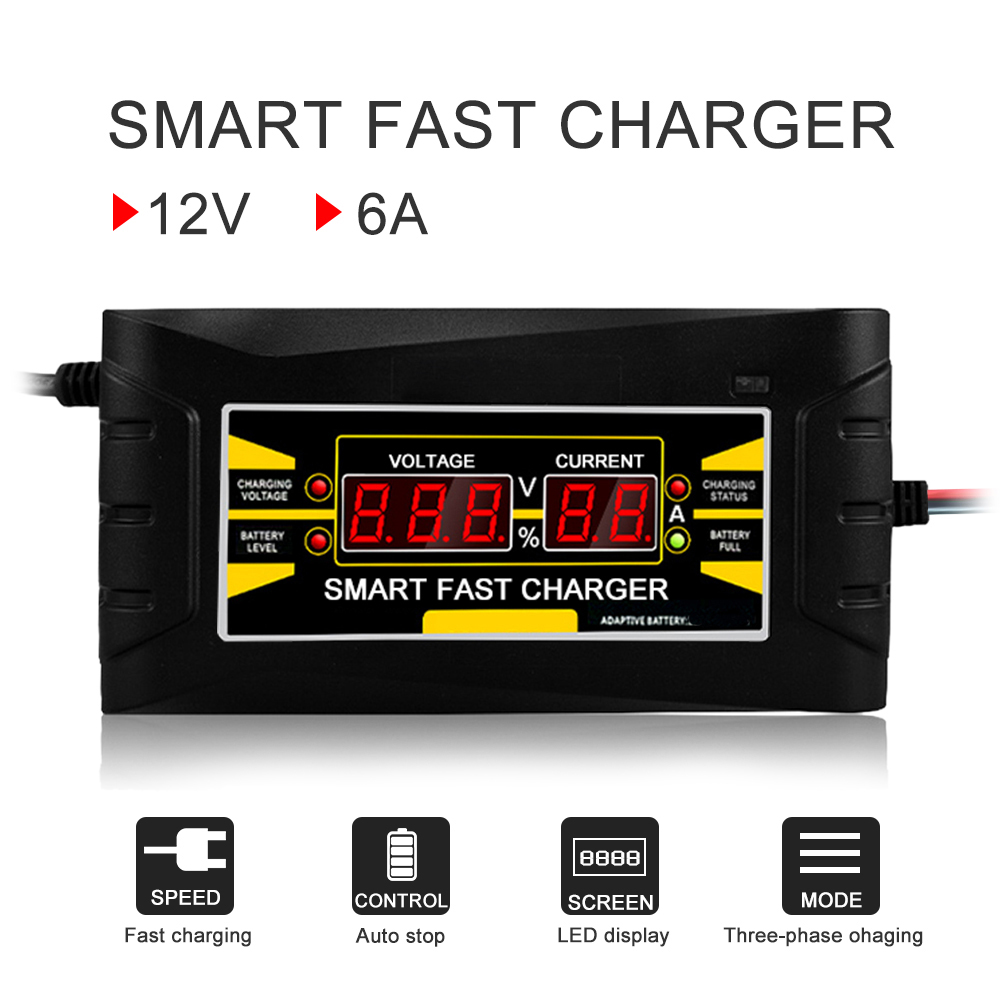 La cargador de batería de coche automático 150 V/250 V a 12 V 6A rápido inteligente de carga de energía adecuado para de la motocicleta del coche con EU/US Plug
