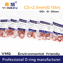 Washer Rubber Gasket Silicon Rings Red 20pcs/Lot Cs2.5mm-Thickness Od14/15/16-/..