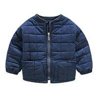 Euopean חאקי מרופד מעילים לילדים אופנה חם כחול ז 'קט המרופדים הכותנה ילדי מעיל משובץ מעיל בני חורף ילדים