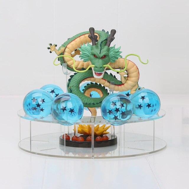 15 centímetros Dragon Ball Z Shenron Figuras de Ação Dragonball Z Figuras Set Dragão Dourado e verde + 7 pcs 4 seis centímetros Bolas de PVC + Prateleira brinquedo