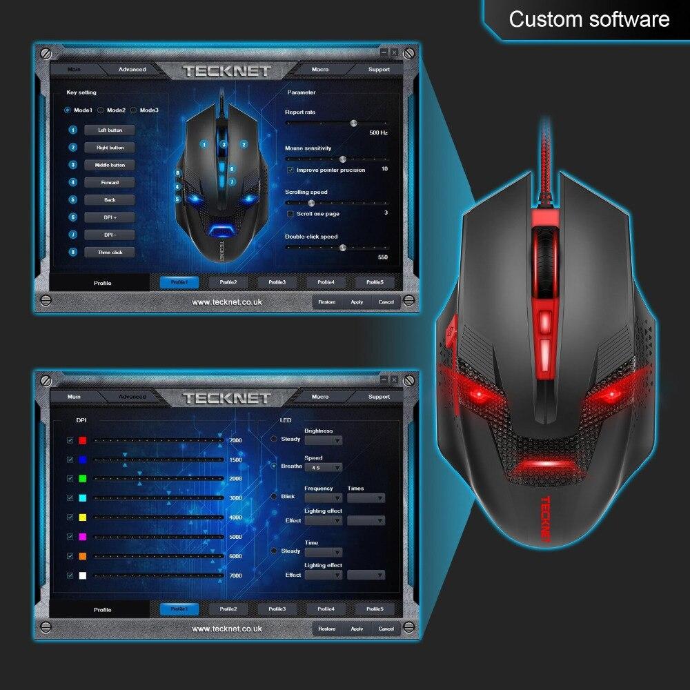 TeckNet RAPTOR Pro программируемый Gaming Мышь, 8 кнопок, 4000 точек/дюйм, 1000 Гц возврата скорость, огонь Мощность кнопки, Вес настройки картридж