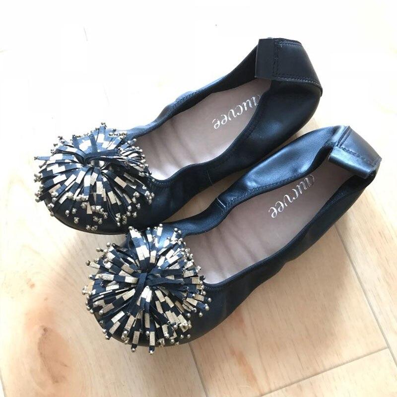 Femmes chaussures appartements en cuir véritable femmes mocassins gland sans lacet chaussures femme rose noir mocassins doux loisirs ballerines - 6