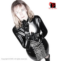 Black Sexy Latex Dress keyhole Rubber Top Buckle NECK open Gummi Playsuit Long Sleeve Bodycon bust Trim plus size XXXL QZ 029