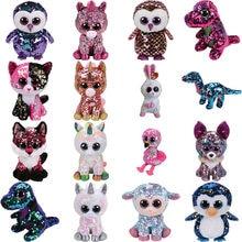 15cm hot sale Ty Beanie Boos big eyes sequins unicorn husky zebra plush  doll stuffed animal plush toy children s toys d3ab12c54487