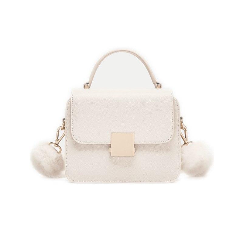 Large white winter shoulder shoulder Messenger bag small square faux leather handbag mini leisure bag chic minimalist faux leather 2 pieces shoulder bag set