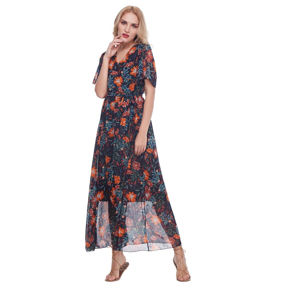 Wipalo Bohemian Chiffon Women Long Dress Short Sleeve