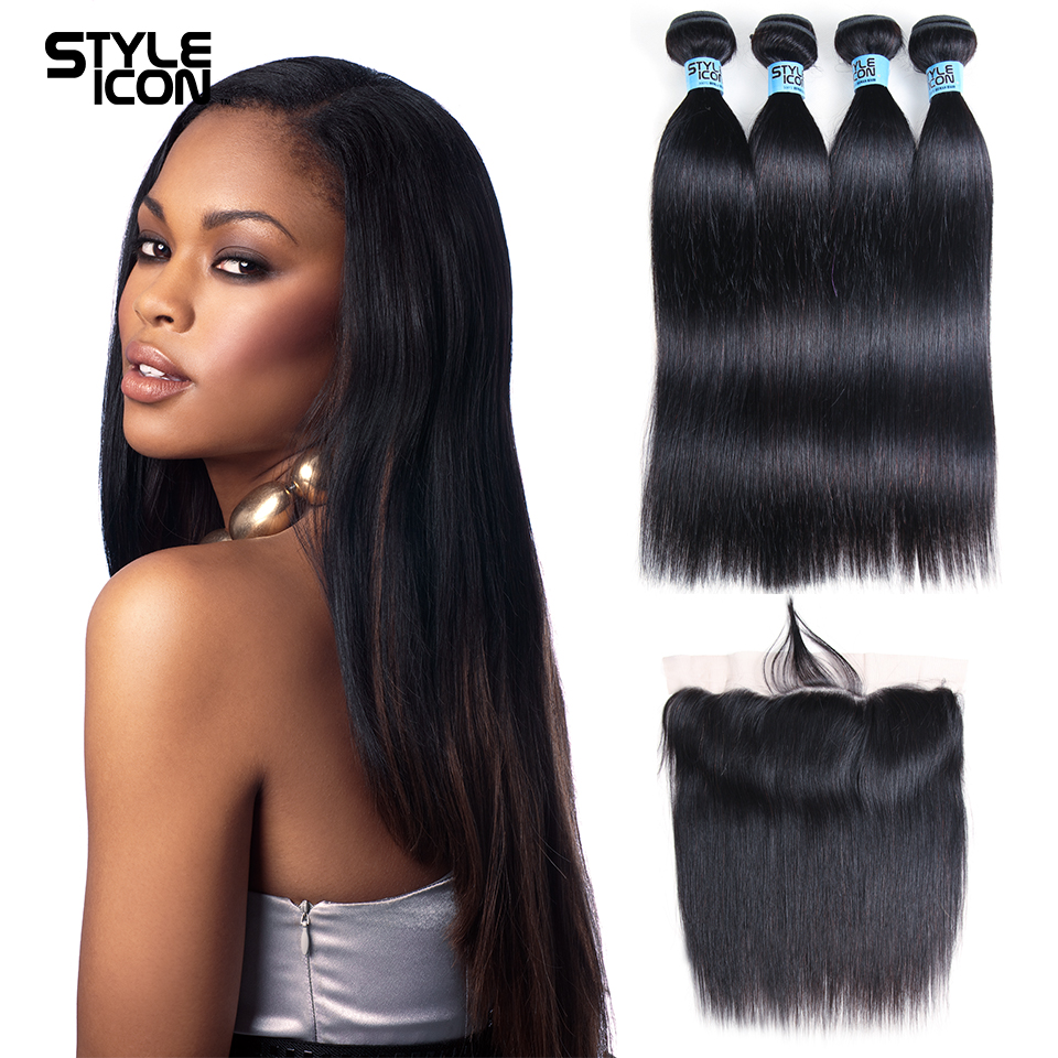 Styleicon Straight Hair 3/4 Bundles With Frontal Closure Malaysian Human Hair Bundles With Closure 13x4 Non Remy Hair Extensions