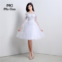 Fashion 2017 Long Sleeves Homecoming Dress Short Appliques Cocktail Party Dress Tulle Short Homecoming Prom Dress