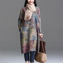 QPFJQD 2017 New Autumn Winter Vintage Loose Women Classical Scenery Printing Long Sleeves O Neck Cotton And Linen Female Dress