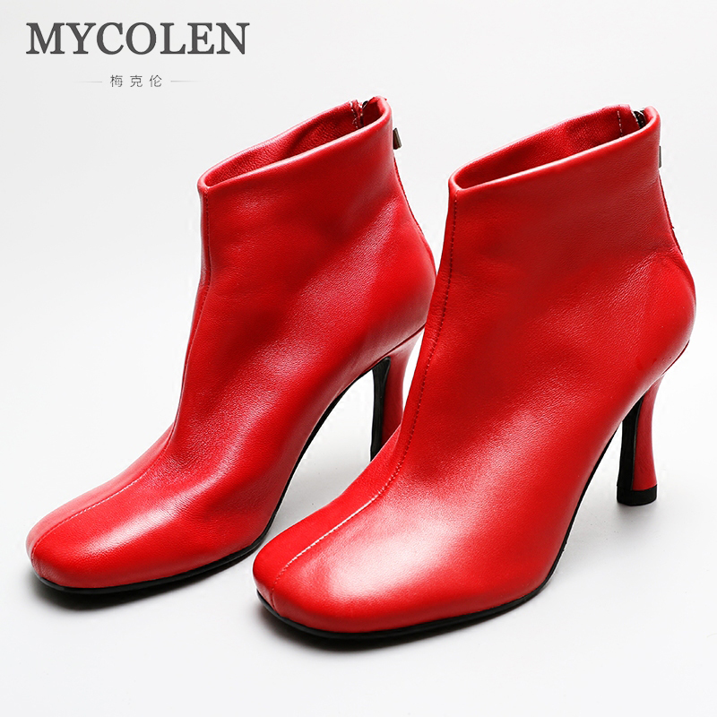 MYCOLEN Handmade Chelsea Boots Women Shoes Genuine Leather 2018 New Rome Square Toe Heels Ankle Boots Ladies Short Boots цена