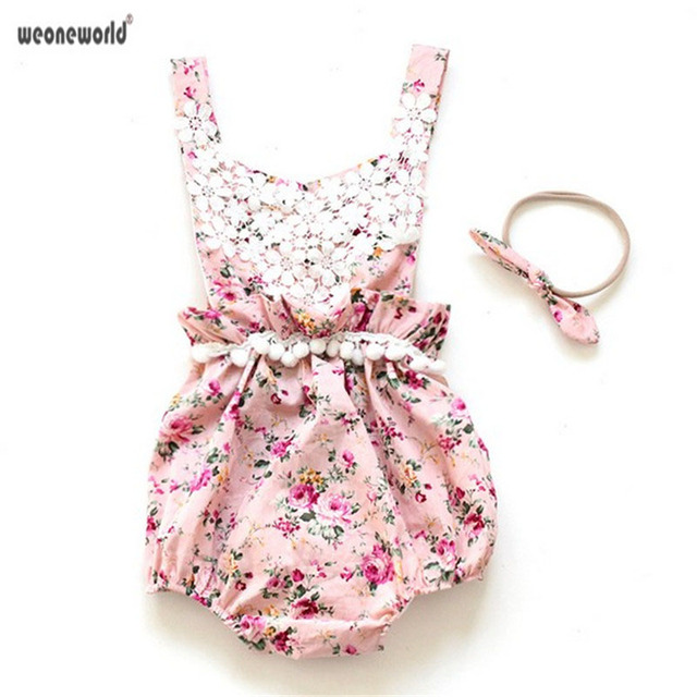6b9acc07b WEONEWORLD newborn baby girl clothes boutique vintage floral lace jumpsuit  Girl Bloomer Romper Kids clothes matched headband