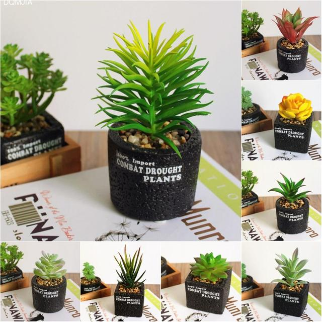 Mini Artificial Plants Bonsai Simulation Succulent With Flowerpot Home Living  Art Decor Car Accessories PVC Garden